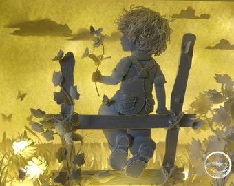 MOMENTS M-Light box-Shadow box-GIFT-handmade-pixie-paper-fairytale-art-littlegirl-led-LIGHTBOX-miniature-sculpture-love-littleboy
