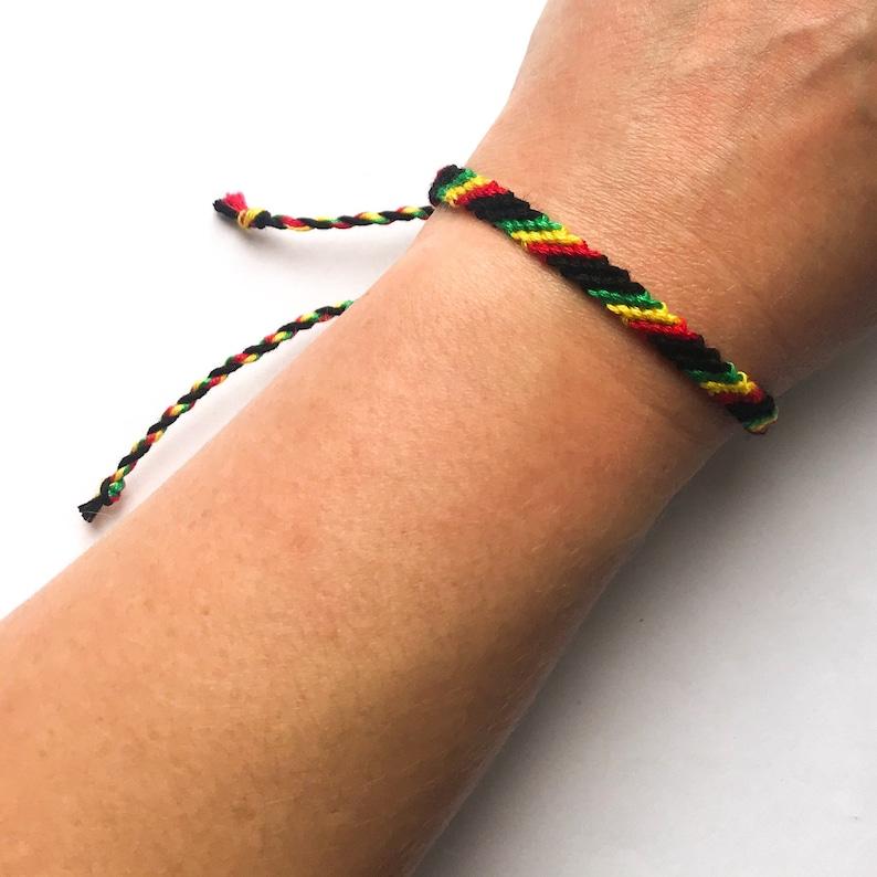 Rasta striped macrame wrap wristband Unisex gift reggae hemp style festival slash cotton vegan bohemian Bracelet Marley 420 skinny eco