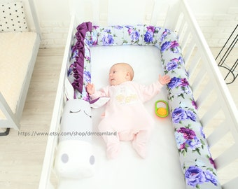 Peony Horse Pillow Handmade, Bolster Pillow, Baby Bed Bumper, Baby Shower Present, Baby crib bumper