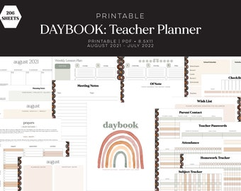 Teacher Planner 2021-2022, PDF, DAYBOOK, Lesson Planner, Classroom, printable, Letter Size, 8.5x11, download