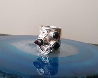 Vintage Large Band Garnet Sterling Silver Ring, boho ring, 925, Size 7 1/4, 19 mm