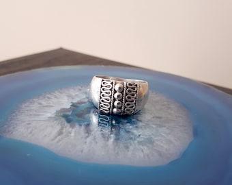 Vintage Sterling Silver Large Band Ring,Filigree 925, Size 8 R3