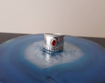 Vintage Large Band Orange Sapphire Sterling Silver Ring, boho ring, 925, Size 9, 2 cm RG2