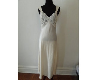 Glam Victoria s Secret sz Small Ivory Vintage Satin Long Nightgown Sexy  Lingerie 80s bridal- very glamorous! Gold Tag fb49589e3