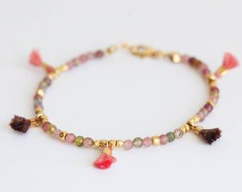 Bohemian Bracelet, Festival Bracelet, Tourmaline Bracelet, Gemstone Bracelet, Beaded Bracelet, Layering Bracelet, Tassel Bracelet, Fringe