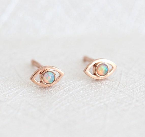 63bf51136 Rose Gold Earrings Opal Earrings Eye Earring Studs for Girls | Etsy