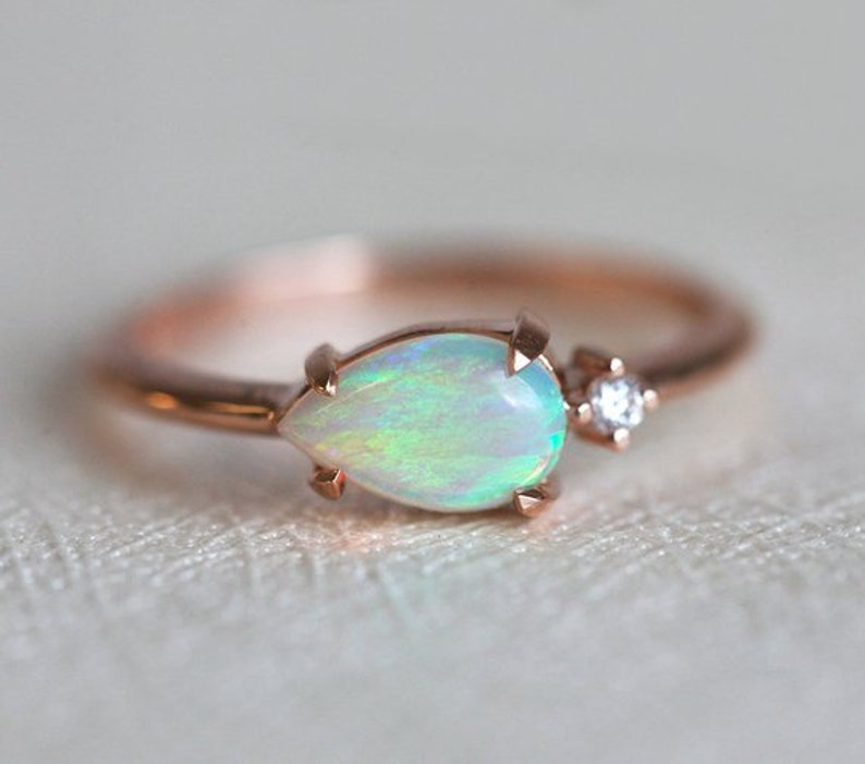 Opal Ring, Verlobungsring, Diamant Ring, Ehering, 14 k Gold, Feueropal Ring, weiß, Birne blau Opal, grün, 18 k Gold, Cluster, Schmuck