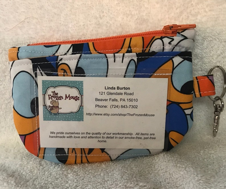 Disney Themed Donald Duck Zippered ID Pouch