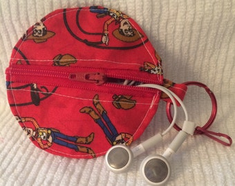 Ear Bud Pouch, Coin Purse, Binky Holder, Pressed Coin Holder, Lunch Money Holder - Sheriff Woody Themed