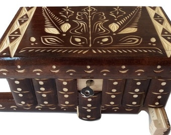 Puzzle jewelry box new beautiful special handcarved brown wooden secret magic brain teaser hidden storage box with key treasure challenge