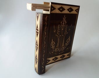 Wizard Puzzle Book Box Beautiful Brown Wooden Magic Misterious With Secret Compartment Inside Surprise Handmade Trinket