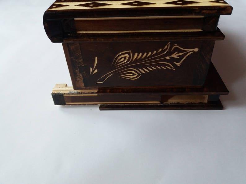 Huge puzzle box magic box jewelry box premium treasure gift new big box brown handmade secret case carved wooden storage box brain teaser