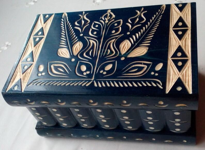 New mystery jewelry box hidden key drawer wooden magic surprise box puzzle box big blue secret box tricky trinket box handcarved storage box
