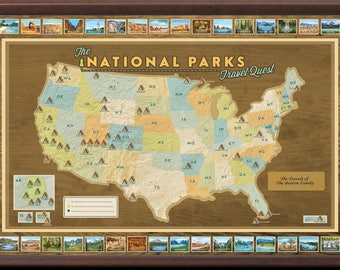 National Parks Map Of Usa.Us National Park Map Etsy
