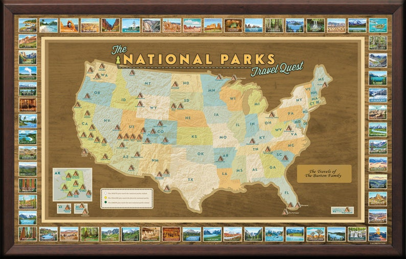 National Parks Travel Map Framed with Pins Push Pin Travel | Etsy