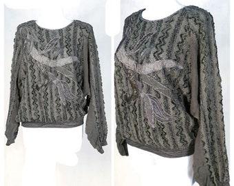 88cd1f7661 Vintage 80 s Jumper Sweater Party Khaki Lurex Cotton Oversize UK12 14  EU38 40