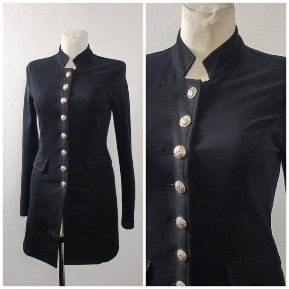 Vintage 80's Women Jacket Black Cotton Knitted Lon