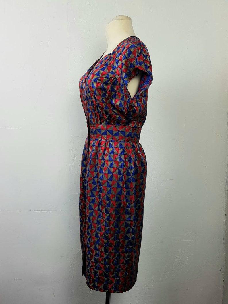 Vintage 80/'s Dress Handmade Buttoned up Sleeveless Party BlueGoldRed Silk UK1416 EU4244