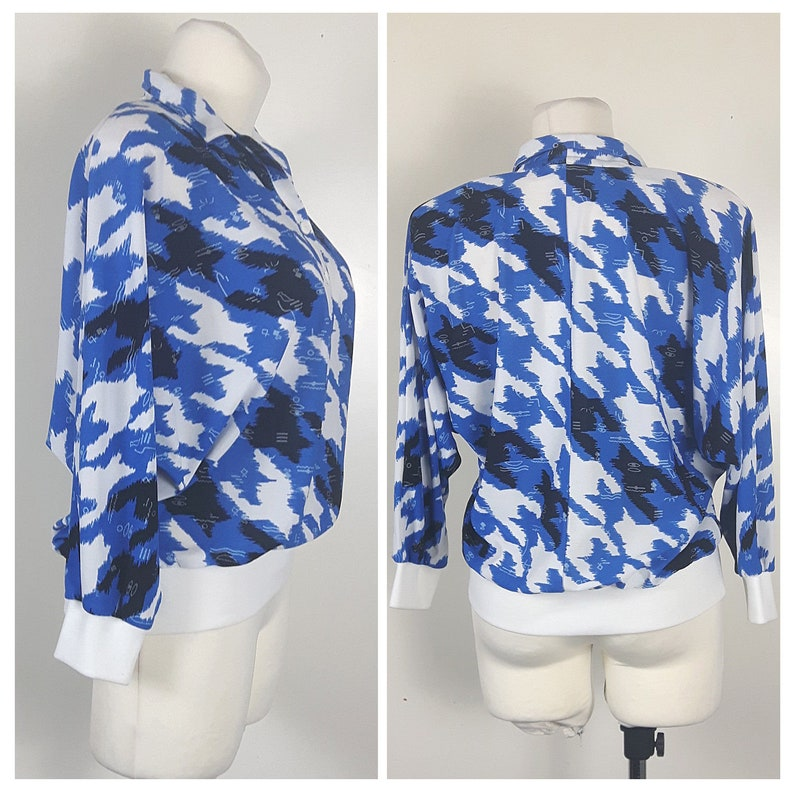 Vintage 80/'s Blouse Shirt Polo BlueWhite Elastic Batwing 34 Sleeves UK14 EU40