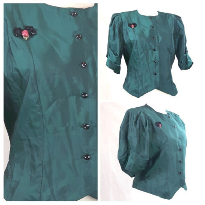 Vintage 80/'s Blouse Oversize Buttons Front Power Party Dark Teal UK1214 EU3840