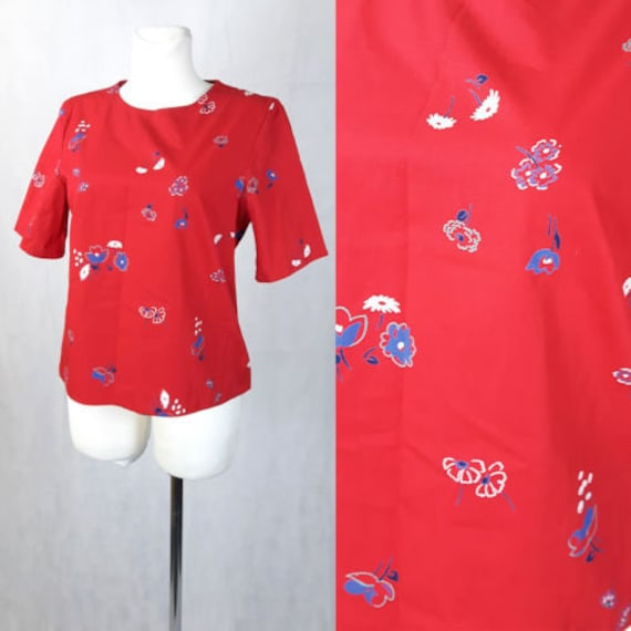 Vintage 80's Top Blouse Red T-shirt Floral Trendy
