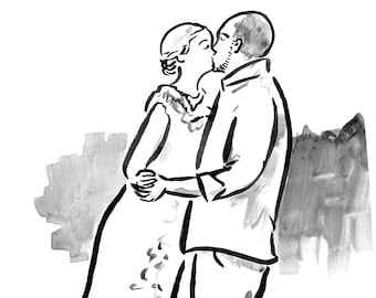 Ink Drawing of Wedding Day