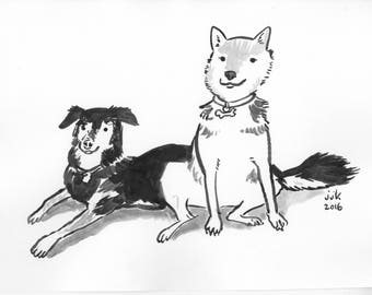 Ink Drawing of Two Pets