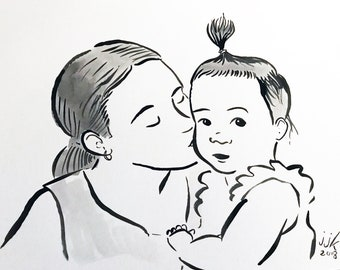 Ink Drawing of Parent and Child