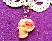 Handmade skull necklace Skull jewelry Halloween necklace Goth Gothic necklace Skeleton jewelry Day of the dead Cute sugar skull necklace