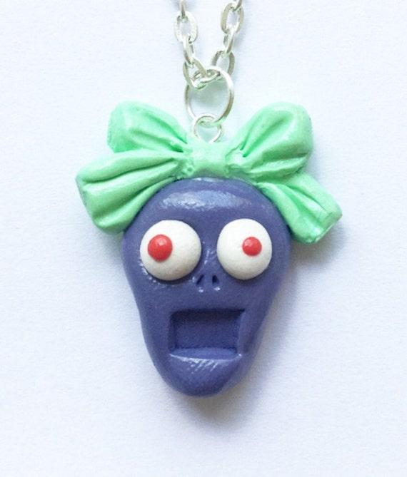 Handmade Zombie Necklace Kawaii Cute Zombie Necklace Undead Corpse Zombie Jewelry Gothic Halloween Necklace Funny Creepy Spooky Zombie Art