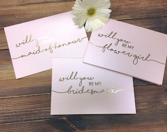 Will you be my Bridesmaid Card, Maid of Honour Card, Flower Girl Card,  Gold Foil, Wedding Stationery