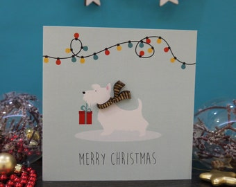 Dog Christmas Card   Scottie Dog Card   Westie Card   Christmas Card   Seasons Greetings Card   Wooden Christmas Card   Wooden Card
