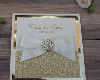 Glitter Wedding Invitation, Diamante Wedding Invite