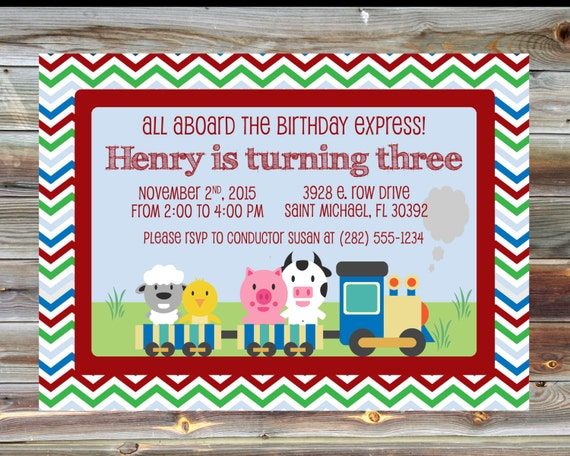 Train Theme Birthday Invitation 1st 2nd 3rd Birthday Boy