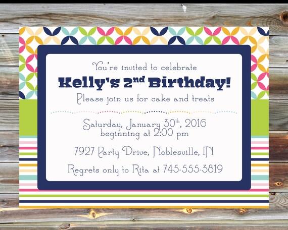 Rainbow Theme Second Birthday Invitation Printable Custom Etsy