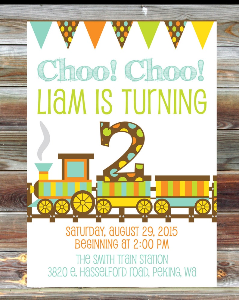 Train Theme Birthday Invitation 2nd Boy Toddler