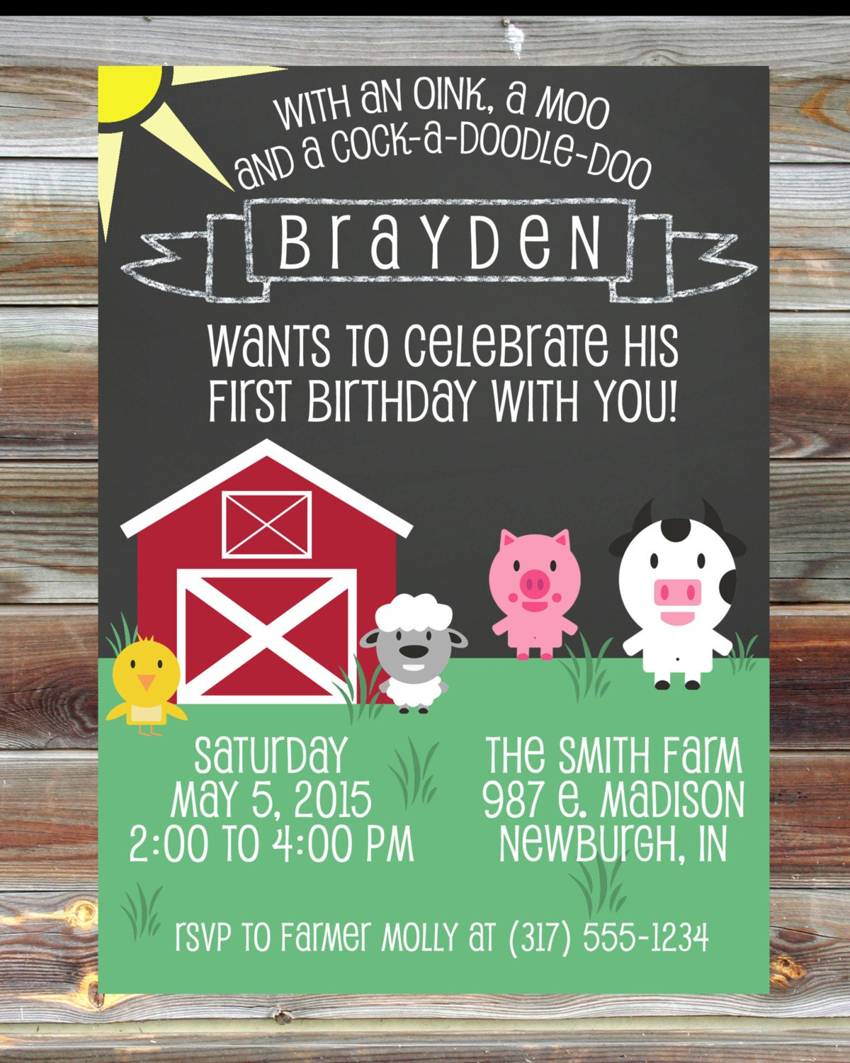Farm Theme First Second Third Birthday Invitation Digital