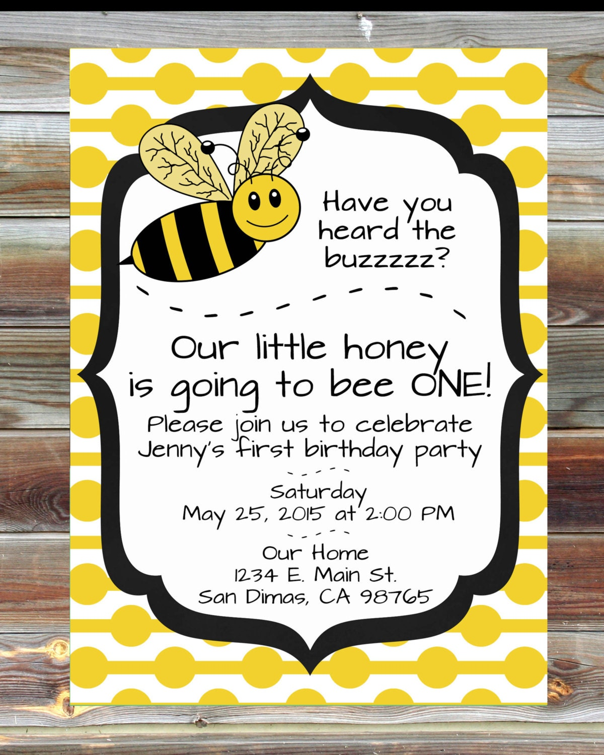 Bee theme first birthday invitation 1st birthday boy girl etsy bee theme first birthday invitation 1st birthday boy girl custom invitation boy or girl bee theme first birthday party invitation filmwisefo