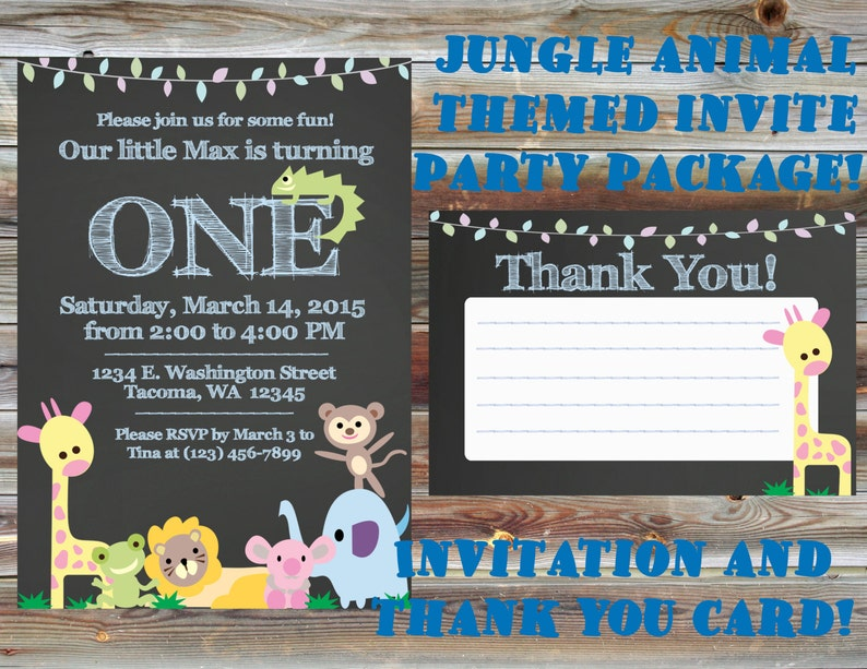 Printable Custom Chalkboard Jungle Theme First Birthday Party