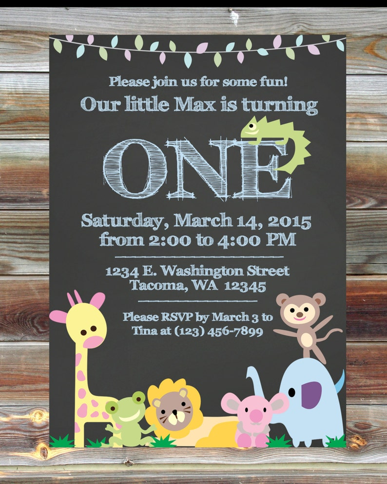 Jungle Theme Wild Animal Birthday Invitation Custom