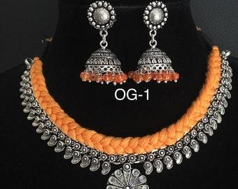Dual tone coin - Mango- Paisley Design-Ganesha Pendant-Nayanthara -Kolhapuri Necklace-Oxidized silver-German Silver-Christmas- Holiday
