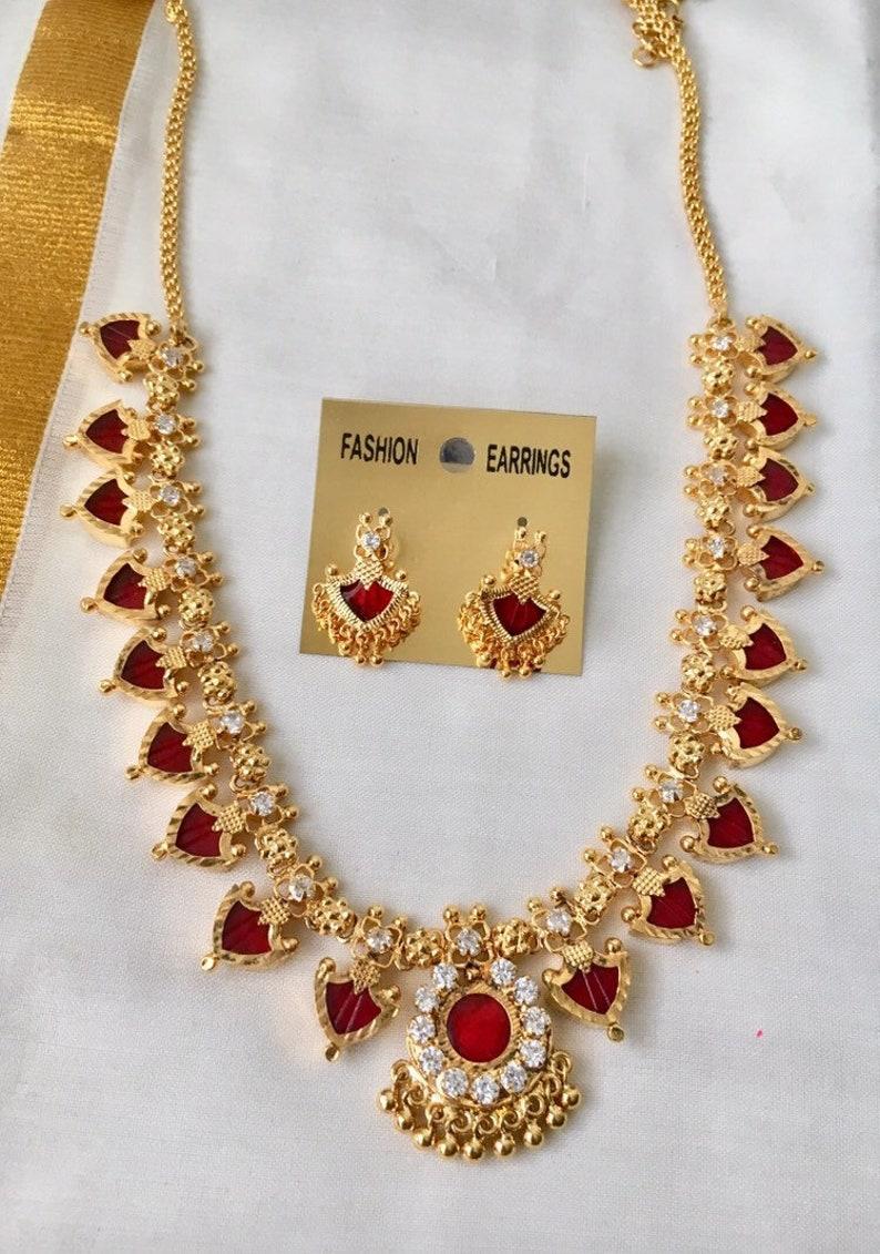 48edcf0031 1 gram gold Micro gold plated palakka necklace Kerala manga | Etsy