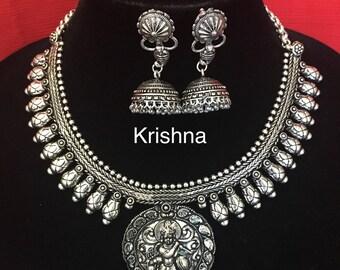 Temple Design German Silver Necklace- Oxidized Silver Necklace- Lakshmi necklace- Coin necklace- Kolhapuri necklace