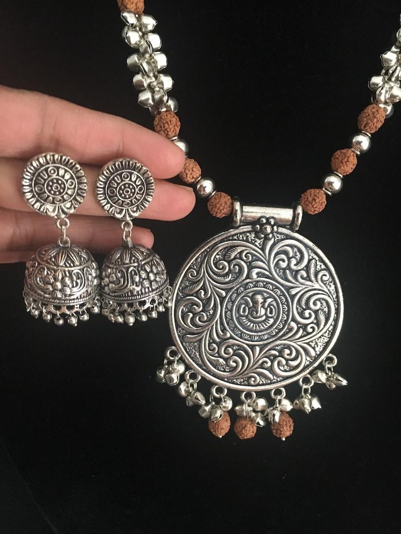 bc778729b Temple Design German Silver Necklace-Oxidized Silver-Lakshmi image ...