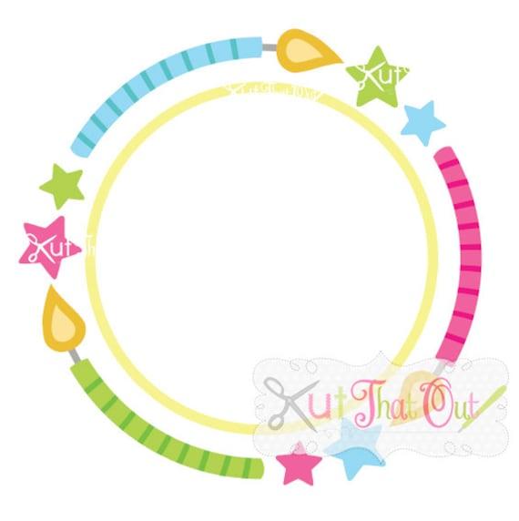 Birthday Candle Circle Monogram Frame Design SVG & DXF Cut | Etsy