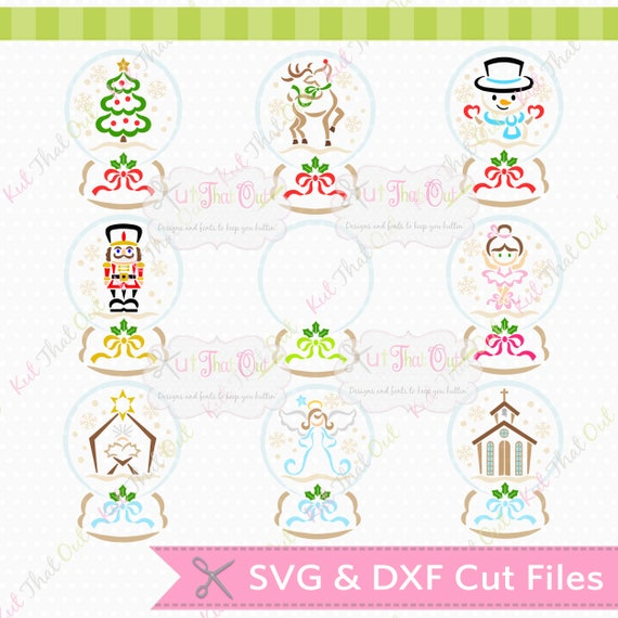 Exclusive Snow Globe Design Set Svg Dxf Cut File Shown With Etsy