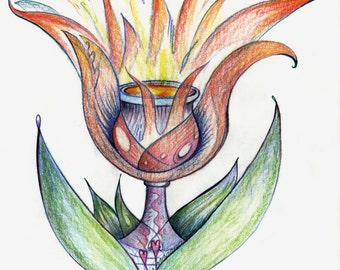 Kabbalah Prints - Themes of Tulips and holy vessel (Holy Grail)