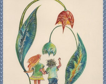 Children & Tulips, whimsical Greeting card.