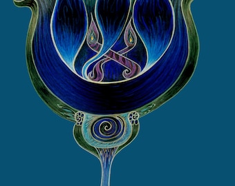 Kabbalah Prints - Themes of Tulips and Tree of Life. Made in Israel. Jerusalem. Tulip Love. Mystical Art
