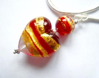Handmade Gold and red Murano glass heart pendant with sterling silver.